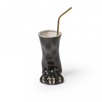 VASO BICCHIERE IN DOLOMITE PARTY ANIMALS LEOPARD SELETTI