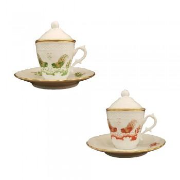 SET 2 TAZZE CAFFE C/ PIATT E COP VECCHIO GINORI RICHARD GINORI