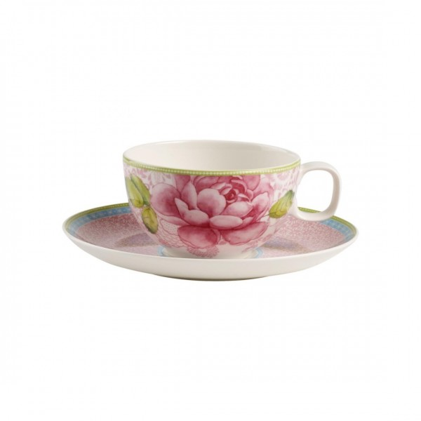 TAZZA TE CON PIATTINO ROSE COTTAGE
