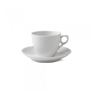 TAZZA CAFFE CON PIATTINO WHITE FLUTED HALF LACE ROYAL COPENHAGEN
