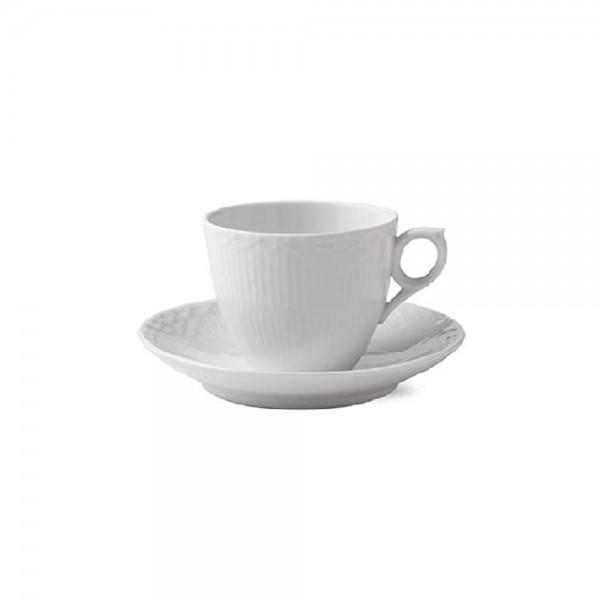 TAZZA CAFFE CON PIATTINO WHITE FLUTED HALF LACE