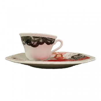 SET 6 PIATTINI CON TAZZA LADIES IN RED ART ROSANNA ART