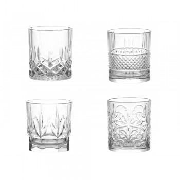 SET 4 BICCHIERI CRYSTAL GLASS SPIRITS BRANDANI