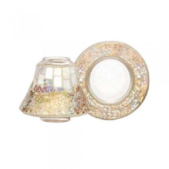 PARALUME CON PIATTO PICCOLO GOLD AND PEARL CRACKLE YANKEE CANDLE