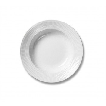PIATTO FONDO 21CM WHITE FLUTED ROYAL COPENHAGEN
