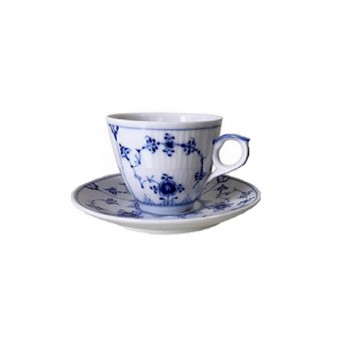 TAZZA CAFFÈ CON PIATTINO BLUE FLUTED PLAIN ROYAL COPENHAGEN