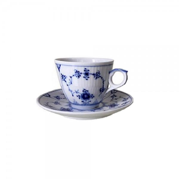 TAZZA CAFFÈ CON PIATTINO BLUE FLUTED PLAIN