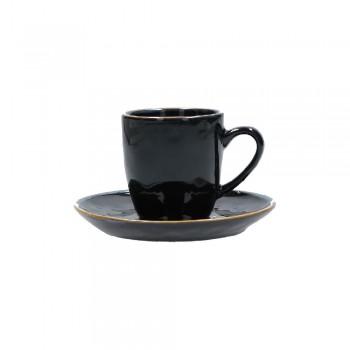 TAZZA CAFFÈ CON PIATTO CONCERTO NERO ROSE&TULIPANI