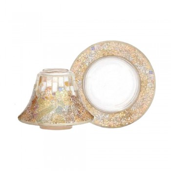 PARALUME CON PIATTO GRANDE GOLD AND PEARL CRACKLE YANKEE CANDLE
