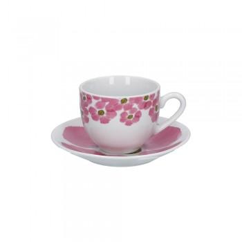 SET 6 TAZZE CAFFÈ CON PIATTINO GALLIPOLI ROSE&TULIPANI