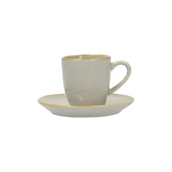 TAZZA CAFFÈ CON PIATTO CONCERTO GRIGIO PERLA ROSE&TULIPANI